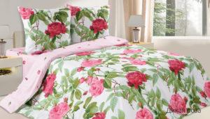 Комплект постельного белья поплин Дикая роза Евро