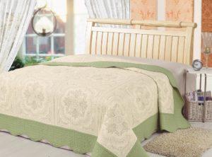 Покрывало  Lux Cotton  Фисташковое барокко+2 наволочки с кантом вышивка
