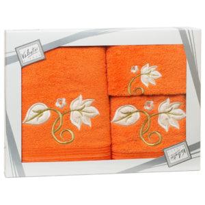 Махровые банные полотенца с вышивкой Valentini FLOWER 1 1123 (Португалия)