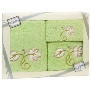Махровые банные полотенца с вышивкой Valentini FLOWER 1 2115 (Португалия)