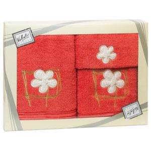 Махровые банные полотенца с вышивкой Valentini FLOWER 2 1088 (Португалия)