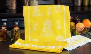 Набор полотенец для кухни Грибы желтый 3 шт