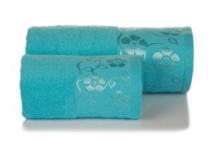 Махровое полотенце Флора голубой
