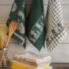 Набор полотенец для кухни Грибы зеленый 3 шт