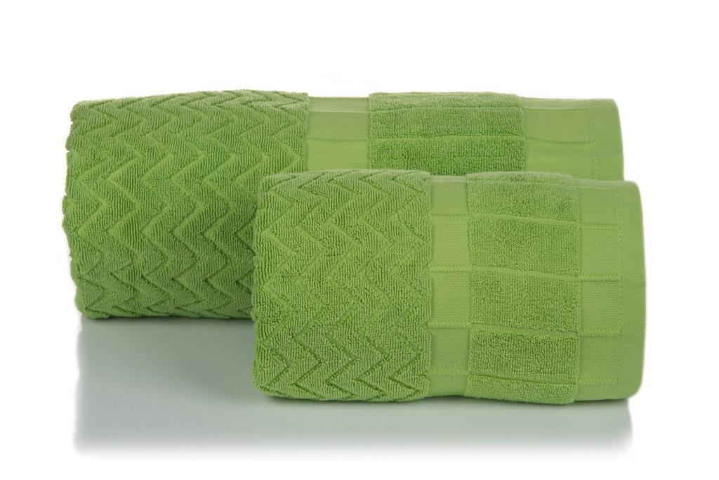 Махровое полотенце Зигзаг зеленый