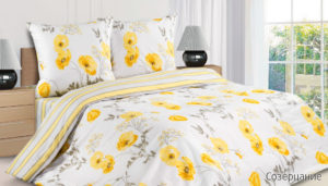 Комплект постельного белья поплин Созерцание евро на резинке