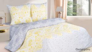 Комплект постельного белья поплин Филигрань евро на резинке