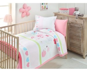 Комплект постельного белья+покрывало ясли Ozdilek Baby Rabbit
