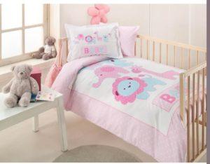 Набор в кроватку покрывало+постельное белье Ozdilek Pink Animals