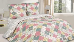Комплект постельного белья поплин Де Флер евро на резинке