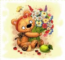 Наволочка декоративная Медвежонок с цветами