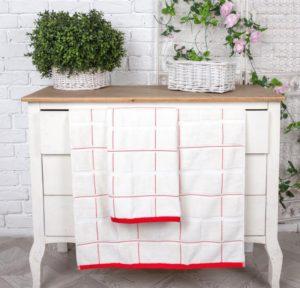 Махровое полотенце Квадрат белый