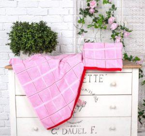 Махровое полотенце Квадрат розовый