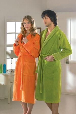 Махровый халат Angora женский оранжевый разм. М
