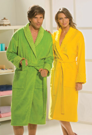 Махровый халат Angora женский желтый разм. L
