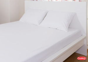 Комплект простынь на резинке+2 наволочки Hobby Home белый