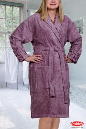 Махровый халат Eliza женский т.фиолетовый разм. L