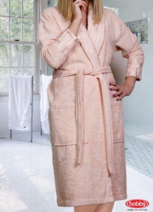 Махровый халат Eliza женский персиковый разм.S