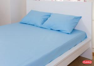 Комплект простынь на резинке+2 наволочки Hobby Home синий