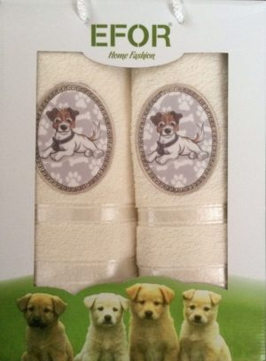 Набор махровых полотенец Efor Собаки кремовый