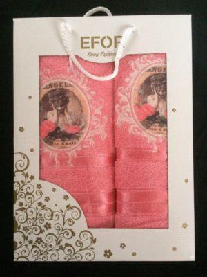 Набор махровых полотенец Efor розовый