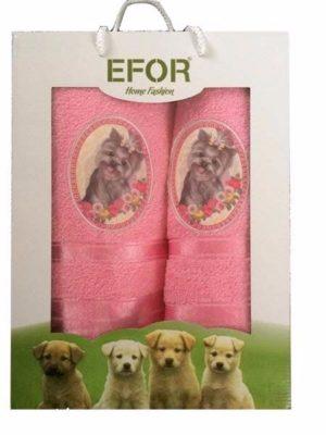 Набор махровых полотенец Efor Собаки розовый