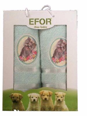 Набор махровых полотенец Efor Собаки ментоловый