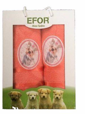 Набор махровых полотенец Efor Собаки оранжевый