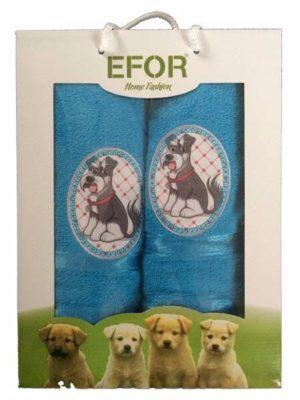 Набор махровых полотенец Efor Собаки голубой