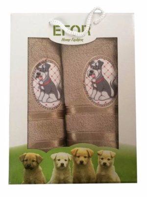 Набор махровых полотенец Efor Собаки коричневый