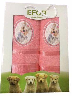 Набор махровых полотенец Efor Собаки персик