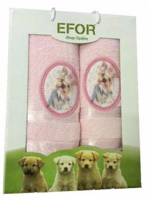 Набор махровых полотенец Efor Собаки светло-розовый