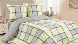 Комплект постельного белья поплин Окси евро на резинке