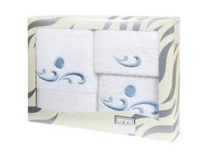 Махровые банные полотенца с вышивкой Valentini арт.Fantasy 101 (Португалия)