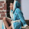 Детский махровый халат с капюшоном Karna Silver бирюза 10-11 лет