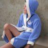Детский махровый халат с капюшоном Karna Silver голубой 6-7 лет