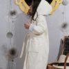 Детский махровый халат с капюшоном Karna Teeny ecru 4-5 лет