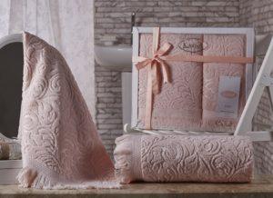 Комплект махровых полотенец Esra абрикос