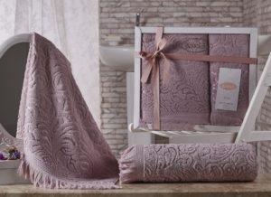 Комплект махровых полотенец Esra грязно-розовый