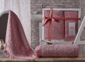 Комплект махровых полотенец Esra розовый
