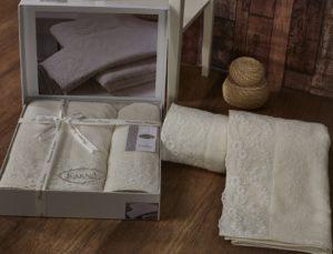 Комплект махровых полотенец Elinda кремовый