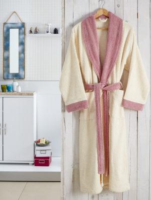 Махровый халат Adra молочный разм.L-XL