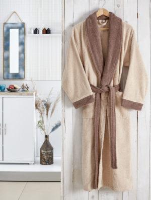 Махровый халат Adra бежевый разм.L-XL