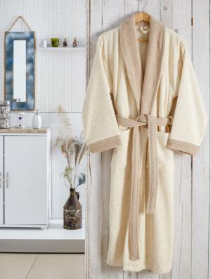 Махровый халат Adra кремовый разм.S-M