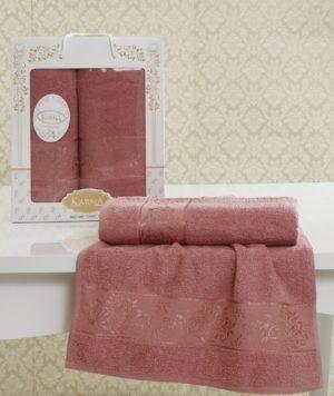 Комплект махровых полотенец Lauren грязно-розовый