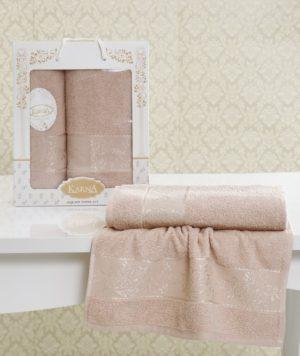 Комплект махровых полотенец Lauren пудра