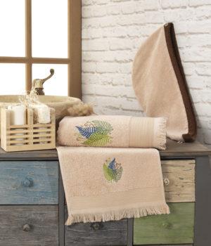 Набор для сауны женский полотенце+тюрбан бежевый