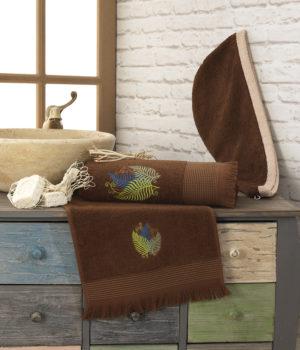 Набор для сауны женский полотенце+тюрбан коричневый