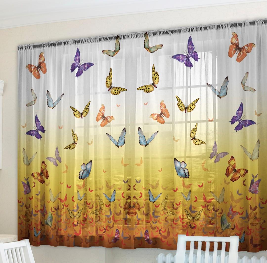 Фотошторы - Тюль для кухни Butterfly
