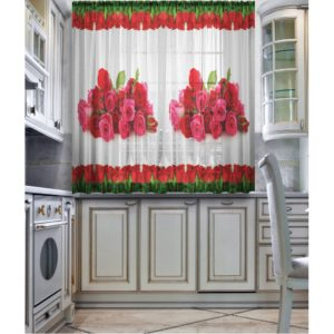 Фотошторы - Тюль для кухни Алые розы
